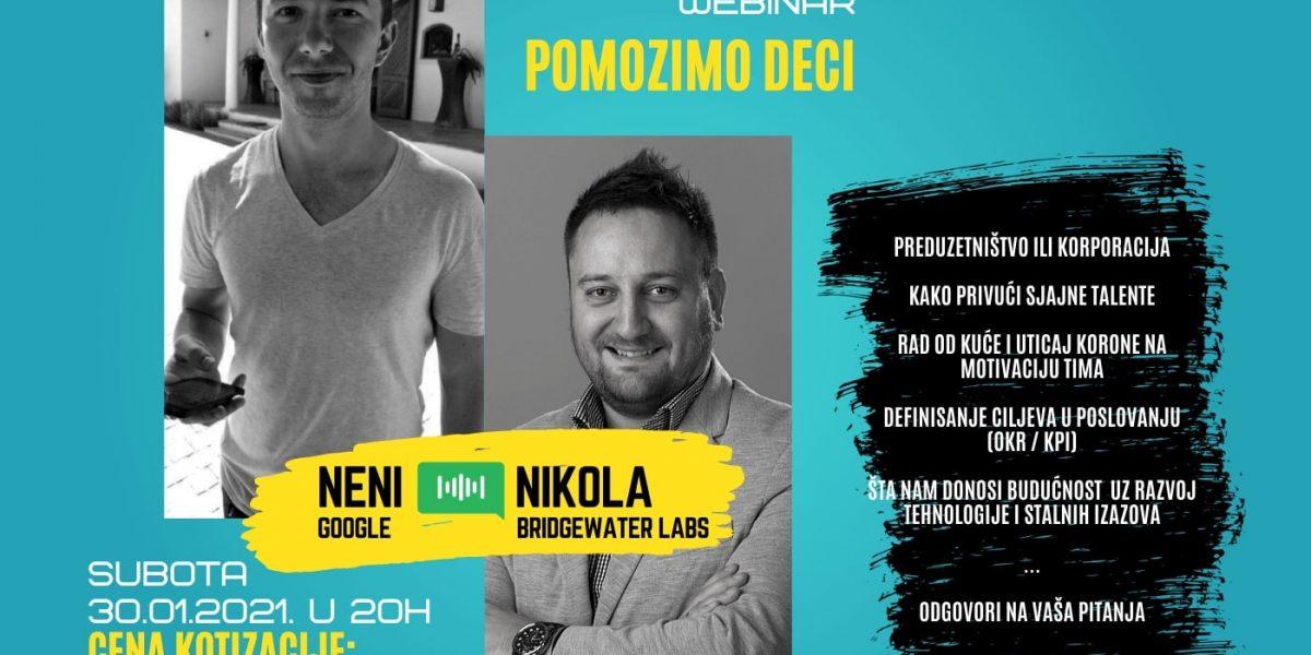 Humanitarni Webinar: Neni (Google) i Nikola (BWL) Subota, 30. Januar u 20:00